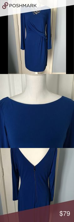 Beautiful royal blue Vince Camuto dress Stunning Vince Camuto Dress. Go from work to a date in this amazing long sleeve royal Blue Vince Camuto Dress. Worn once. Hits above the knee. Extremely flattering. Necklace sold separately check out my closet. Bundle discount offered on multiple items. Vince Camuto Dresses Long Sleeve
