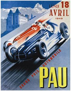Grand Prix Automobile De Pau 1949 Fine Art Giclee Print