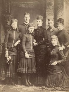 Princess Alexandra of Wales with children Albert Victor, Louise , George, Victoria , Maud and Princess Charlotte of Prussia.