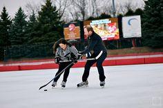 angela & christian engagment hockey photos by kern photo