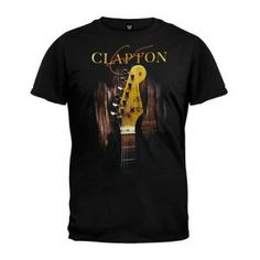 Eric Clapton Blackie Tee - Rock out with this Eric Clapton Blackie T-Shirt showcasing a guitar image on black background.