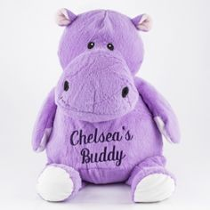 Personalize this #cute stuffed animal with any name or message!  Embroiderable Purple Hippo #gift #thingsengraved #thingsengravedgifts