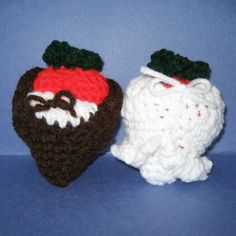 NOTE: This is the PATTERN for the crochet wedding strawberries dipping.  These strawberries are not only cute and cozy, they are also very tasty and sweet because they are covered with chocolate dippings and they are soon to be married!!  The strawberry couples are done with the crochet techniques of chaining, slip stitch, single crochet, half double crochet, double crochet and triple crochet. They are both about 4 inches tall. Youll be able to download the PDF file as soon as you have…