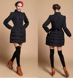 (64.63$)  Know more  - European winter 2014 new fashion long women down parkas puff sleeve stand collar solid coats loose hem bowknot warm down E277