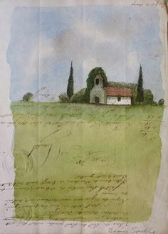 Art on the Go: watercolor your location on top of old paper/ephemera/travel notes. (from Ragtale blog)