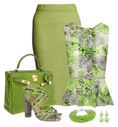 """Shades of Green"" by maggie-jackson-carvalho ❤ liked on Polyvore featuring Lucas Nascimento, Jane Norman, Hermès, Dorothy Perkins, NLY Accessories and Pink Mascara"