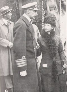 Dowager Empress Maria Feodorovna with her nephew King Christian X on her arrival in Denmark, 1919