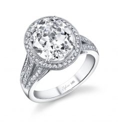 This beautiful 18k white gold  diamond engagement ring features a 5 carat oval cut diamond. Round brilliant diamonds surround the center stone and flow down the sides of this ring for a total carat weight of 0.63 carats. The diamond engagement ring is available in any shape or size center diamond, in 18K white gold or platinum. All Sylvie Collection engagement rings are available with a flush fit matching wedding band. (For pricing on this diamond engagement ring and other diamond engagement ...