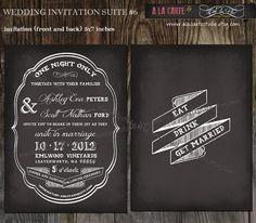 Chalkboard  Wedding Invitation Card No6  Print by alacartestudio on Etsy
