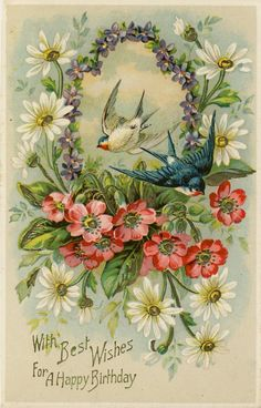 Antique postcard with swallows and flowers