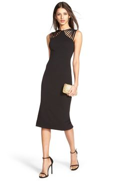 Free shipping and returns on Dress the Population 'Gwen' Knit Midi Dress at Nordstrom.com. Statement-making straps embolden this sleek body-con LBD designed with forgiving texture and on-trend midi length.