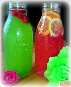 """Infusions fraiches au """"sirop"""" de fruits  * 2 grandes bouteilles en verre centrifugeuse   * 2 ou 3 Kiwis * 1 grosse poignée de framboises * 1 poignée de cranberries * 3 rondelles de citron  Recette :  * Remplir les bouteilles avec de l'eau fraiche (filtrée si possible) * Extraire le jus des kiwis et des framboises. Verser le jus d'un fruit par bouteille. * Ajouter dans la bouteille au sirop de kiwi, les cranberries. *Ajouter dans la bouteille au sirop de framboise, les rondelles de citron."""