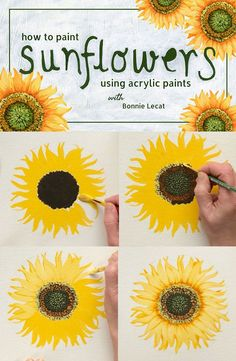 Learn to Paint Sunflowers with acrylic paint in this fun and simple class taught by artist Bonnie Lecat. via How to Paint Sunflowers using Acrylic Paints with Bonnie Lecat Acrylic Painting Flowers, Using Acrylic Paint, Tole Painting, Diy Painting, Painting & Drawing, Creative Painting Ideas, Simple Flower Painting, Learn Painting, Wedding Painting