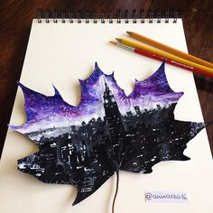 Empire State Building, magic night in New York. Acrylic paints on a leaf by awirazka16.