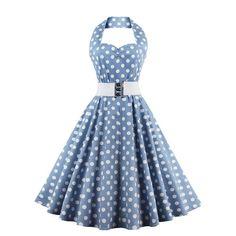 Retro Polka Dot Cocktail Swing Halter Classic Rockabilly Sleeveless Dress CF1388_01