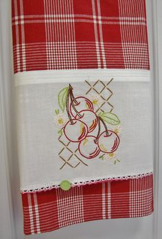 Vintage Linen to Upcycled, Refashioned Tea Towel - Cherry Tree - Retro Styling… Hand Embroidery Patterns, Vintage Embroidery, Cross Stitch Embroidery, Machine Embroidery, Decorate Pillowcases, Sewing Crafts, Sewing Projects, Ribbon On Christmas Tree, Christmas Gifts