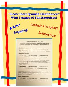 Boost your students' Spanish confidence with 3 easy exercises.   See Senora Baxter's blog entry for additional ideas & free PPT's on how to get your Students confident & recognizing Spanish on the first day.  http://senorabaxterspanish.blogspot.com/2016/08/boost-confidence-level-of-spanish-on.html