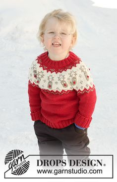 Little red nose / DROPS children - free knitting patterns by DROPS design Knitted sweater for babies and children with round yoke in DROPS Merino Extra Fine. The piece is worked from top to bott. Baby Knitting Patterns, Jumper Patterns, Christmas Knitting Patterns, Knitting For Kids, Crochet For Kids, Baby Patterns, Free Knitting, Crochet Baby, Knit Crochet