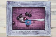 """Serie """"Familiensilber"""" - Löffel mit Kirschen - Fine Art Print auf CANVAS in 20 x 29 cm, kaschiert auf Sperrholz. Rahmen handgefertigt, Aussenmasse 29,4 x 37,8 cm. Bottle Opener, Designer, Wall, Collection, Home Decor, Style, Cherries, Frame"""
