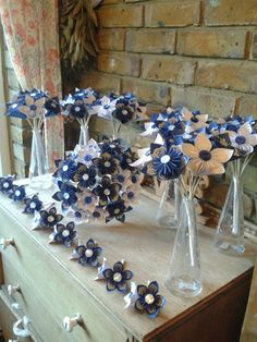Royal Blue and White vintage style paper lace origami bouquet set with buttonholes www.flairforfleur.co.uk