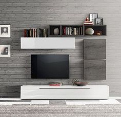 Storage wall, modern and design, glossy white and gray oak ro . - Storage wall, modern and design, glossy white and gray oak room tv wall modern tv units int - Modern Tv Units, Furniture Placement Living Room, Tv Wall Design, Tv Unit Interior Design, White Room Decor, Home, Living Room Grey, Living Room Tv Wall, Furniture Design Living Room