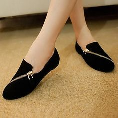 Women's Shoes Round Toe Flat Heel Loafers with Zipper More Colors available – USD $ 19.08