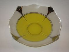 """1930 Indiana Glass Moderne Classic 12"""" Console/Fruit Bowl Art Deco Yellow Silver"""