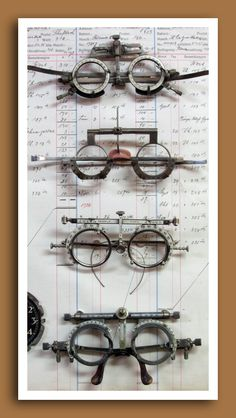 Vintage and antique optometrist's trial lens frames. http://bellebrocante.typepad.com