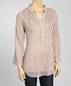 Look what I found on #zulily! Purple & Gold Star Chiffon Button-Up Top - Women by Wrangler #zulilyfinds