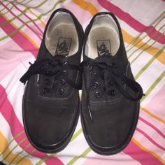 black vans soles are somewhat dirty and can be removed by a good hard wash and slight fading no tares or stains Vans Shoes Sneakers