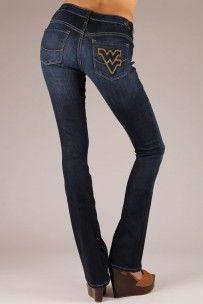 West Virginia Mountaineers Branded Bootcut Jeans in Deep Indigo