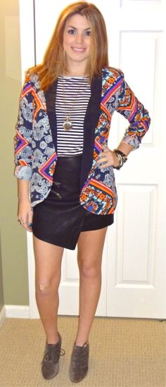 Trend: Mixed Prints (Printed Blazer- Nordstrom; Striped Shirt- Tory Burch; Asymmetrical Leather Skirt- Tobi; Suede Booties- Sam Edelman)