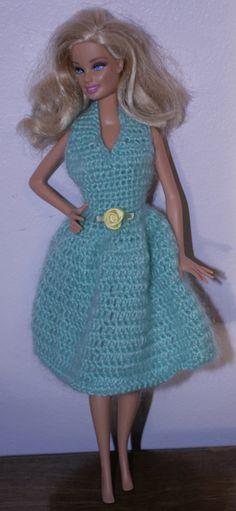 Green Barbie Doll Fashion Doll Fancy Lacey Halter Dress Crocheted 1 piece by MyKaleidoscopeKids on Etsy