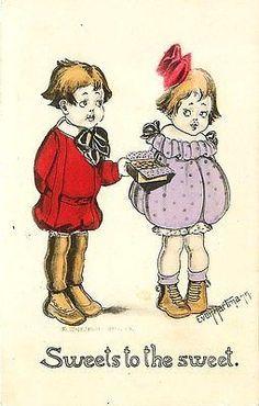 Valentine Artist Signed Hartman 1912 Boy Girl Box Chocolates Vintage Postcard