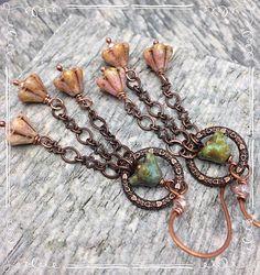 Pendientes Bouquet vintage cristal checo anillo de cobre de