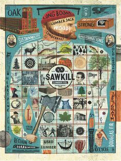 Sawkill Lumber Vintage Design Styles in Award-Winning Graphic Art