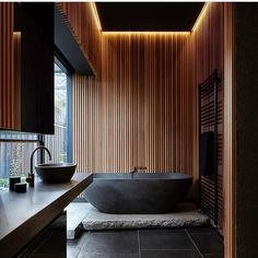 What do you guys think of this bathroom? Do you like the black tub? I love it ! By @splinter_society_architecture and…