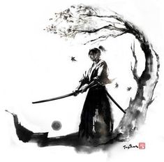 """By JungShan """"Autumn moon"""" Let's go back to samurai series! I made these drawings to one of my tattoo freelance work. My client asked me for a samurai under the maple and holding a sword. I made 3 illustration to her to choose and she chose Autumn moon. Ronin Samurai, Samurai Warrior, Familie Symbol, Arte Ninja, Samurai Artwork, Samurai Drawing, Samurai Tattoo, Ronin Tattoo, Desenho Tattoo"""