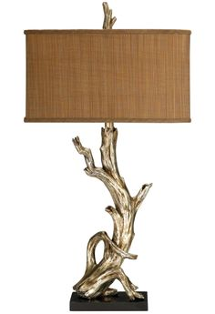 Elegant silvered driftwood table lamp. Featured on CC: http://www.completely-coastal.com/2014/08/shop-driftwood-lamps.html