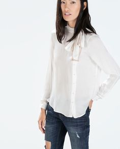 Image 1 of TIE-NECK BLOUSE from Zara