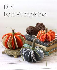 Felt Pumpkins Halloween Autumn Craft Project