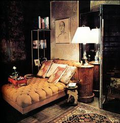 Photos taken in 1975 of Ferris Megarity's Manhattan apartment.  Megarity (died in 1984) was publicity director and one-time home furnishings division director for B. Altman. Architectural Digest, March/April 1975