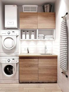 Laundry Nook, Modern Laundry Rooms, Laundry Room Layouts, Laundry Room Shelves, Laundry Room Remodel, Laundry In Bathroom, Laundry Storage, Laundry Decor, Organized Laundry Rooms