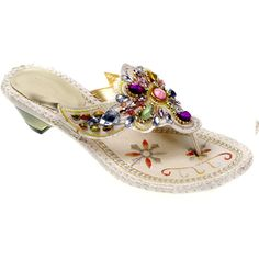 Designer Ivory Beaded Bohemian Fashion Wedding Cocktail Party Sandals Shoes  SKU-1090343