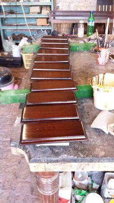 9ft Jelks antique snooker table restoration.French polished leg plates.