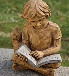 Reading Boy Statue shows a bright boy enjoying the magic that can be found in… Reading Library, Reading Art, Girl Reading, I Love Books, Books To Read, Book Sculpture, Paper Sculptures, Pottery Sculpture, World Of Books