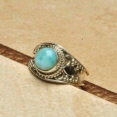925 Sterling Silver Larimar ring Stunning Dominican Republic larimar gemstone ring. New without tags. Beautiful details. Jewelry Rings