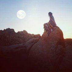 Sunrise camping, blankie & coffeeeeee & moon & sun!