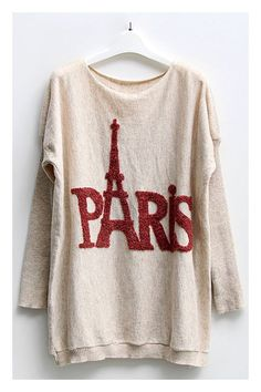 Loose long jumper crafted in knit fabric, featuring Paris Eiffel Tower print to the front, bat sleeves with ribbed design, round neckline, long length cut with ribbed hem, designed in relaxed fit.$49