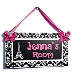 Personalized Eiffel Tower Paris Themed Bedroom or nursery wall or Door Plaque, Hot Pink with White Damask Pattern